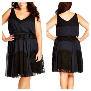 City Chic Dark Lace Contrast Panel Dress Navy 22W